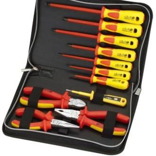 Set of insulated screwdrivers and pliers