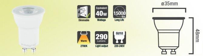 Mini GU10 Spot LED 35mm dimmable blanc chaud 290LM 3