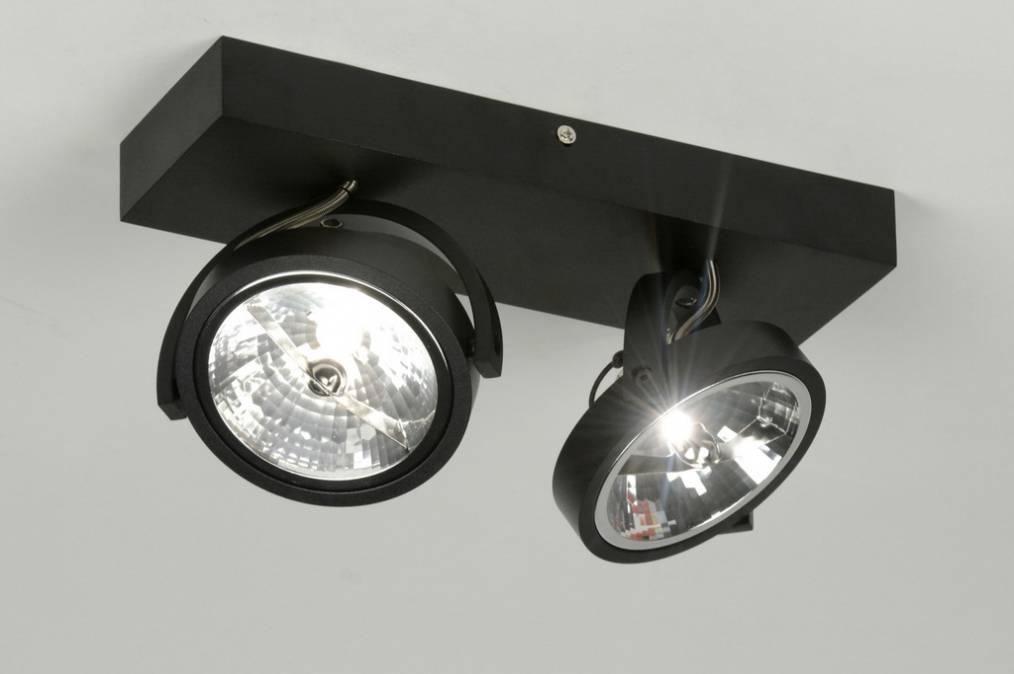 Plafond lamp 2x ar111 mat zwart - LEDshoponline.be