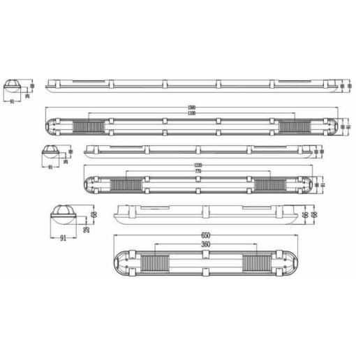 Tri proof LED armatuur IP65 600mm