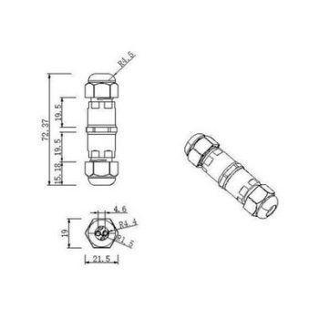 Waterdichte kabel verbinder IP68 3