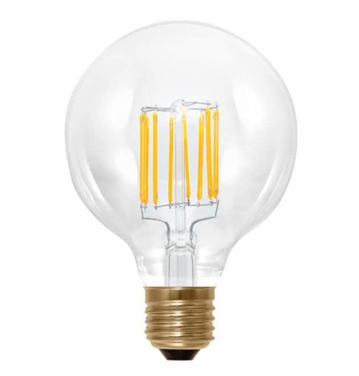 Filament E27 LED bol 95mm Edison dimbaar