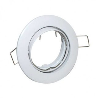 Round white recessed spot fixture adjustable