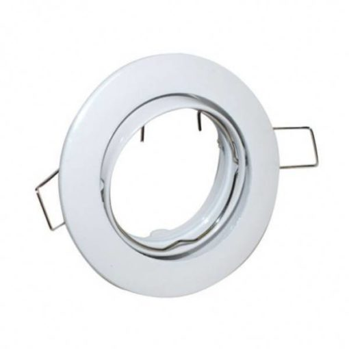 Round white recessed spot fixture adjustable