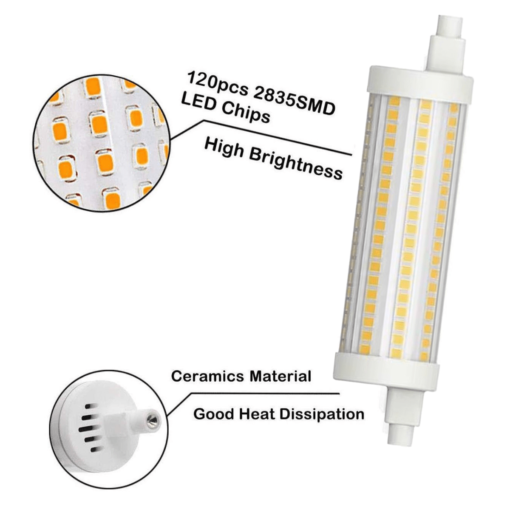 R7S LED 118mm 16w blanc chaud 360 ° 2