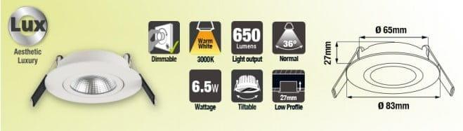 LED inbouwspot | Ultra Slim downlight 6,5W Warm-wit 3000k | Dimbaar 650Lm 1